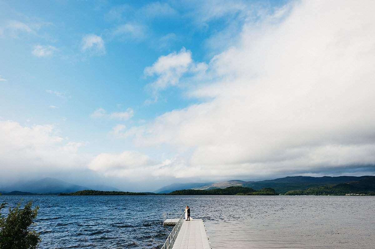 loch side wedding photography portrait at loch lomond scotland