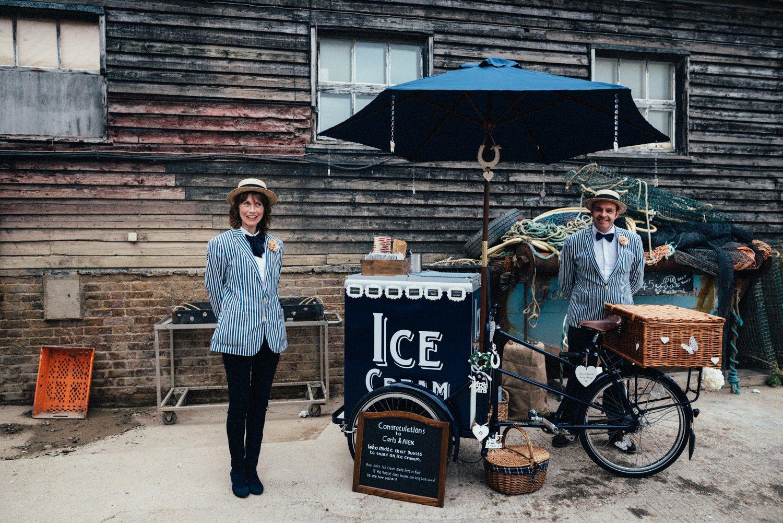 Vintage ice cream stall, Kent wedding
