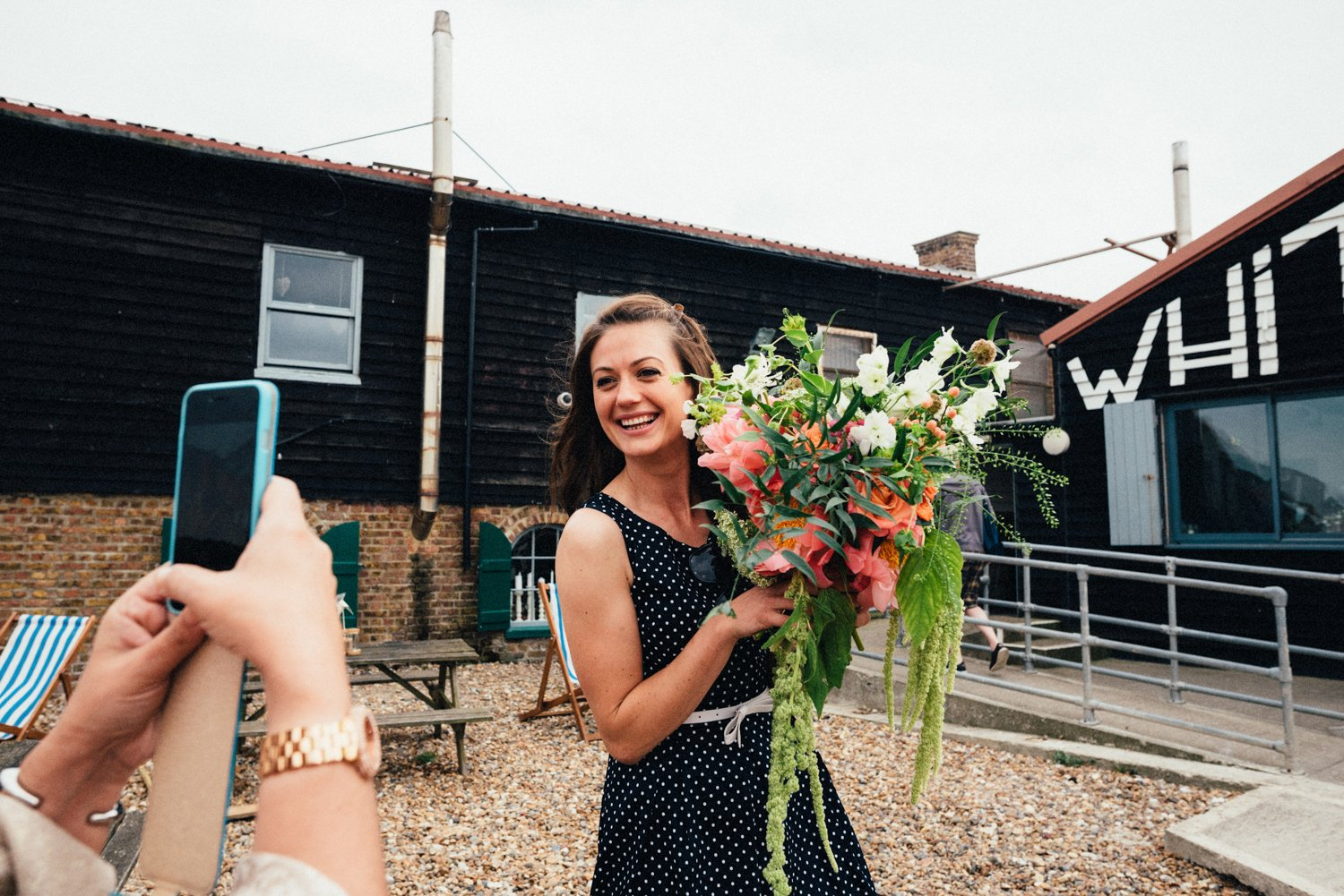 Girl holding A Vintage Wedding bouquet