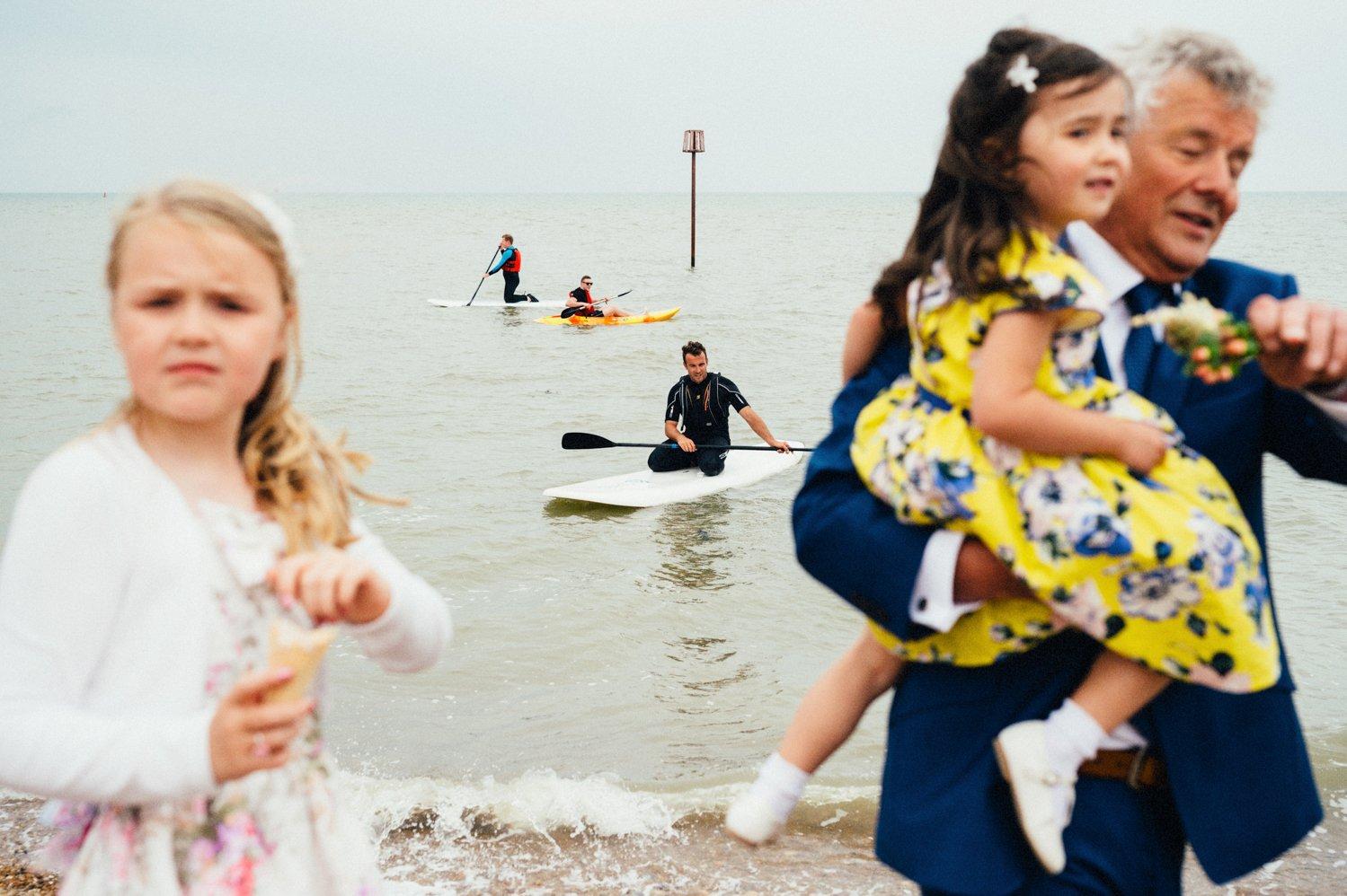 Creative seaside wedding photography