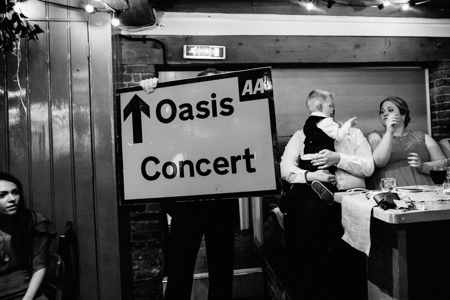 Oasis concert sign Whitstable wedding