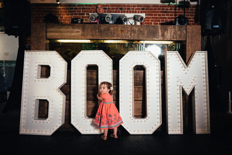 Doris Loves light up letters BOOM