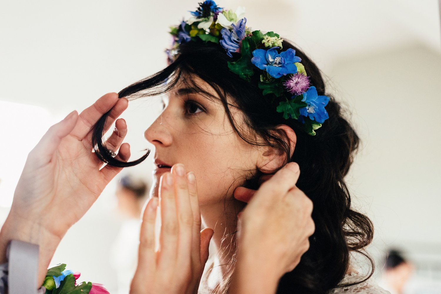 London bridal prep with flower headband