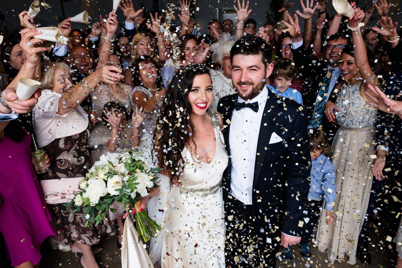 Glam London wedding confetti shot