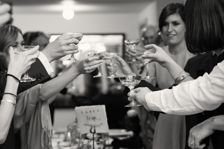 Champagne toast Hauser & Wirth Somerset wedding