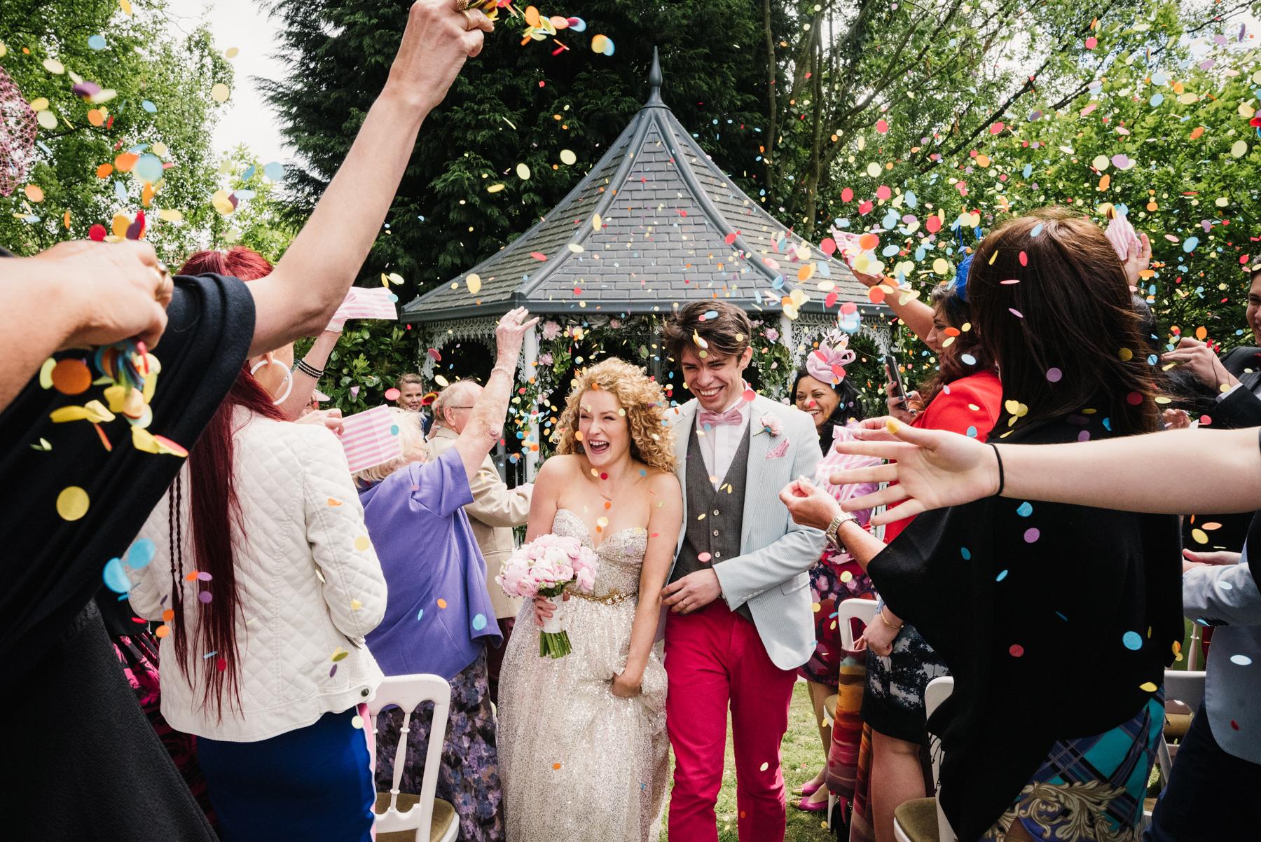 Sarah Seven bride confetti shower