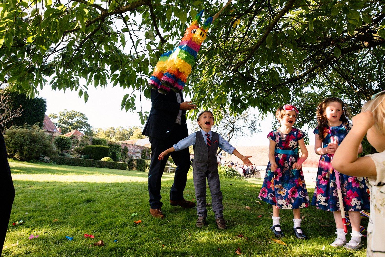 Children having fun West Lexham wedding Norfolk