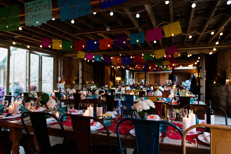 Beautiful colourful wedding decoration West Lexham