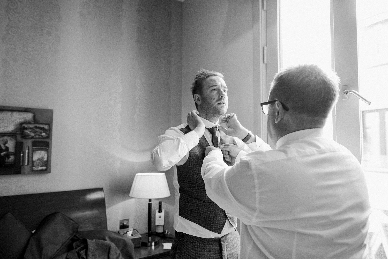 Ted Baker groom preparation Edinburgh wedding