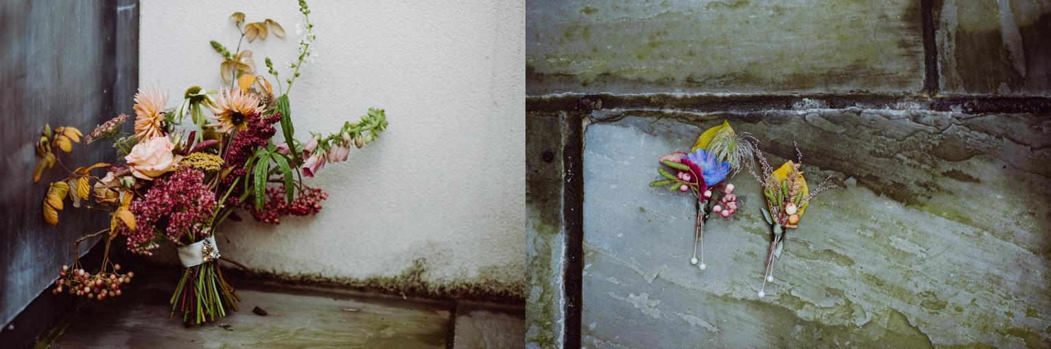 Pyrus bridal bouquet and buttonholes Scotland wedding