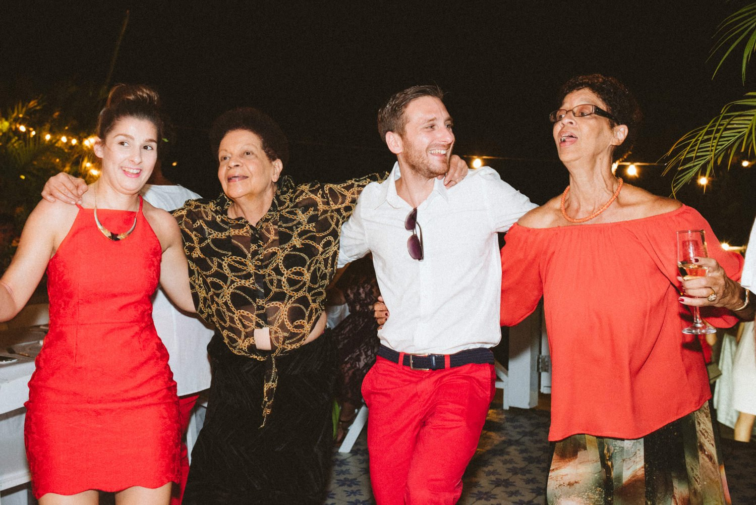 Bright fun dancing at Tobago destination wedding