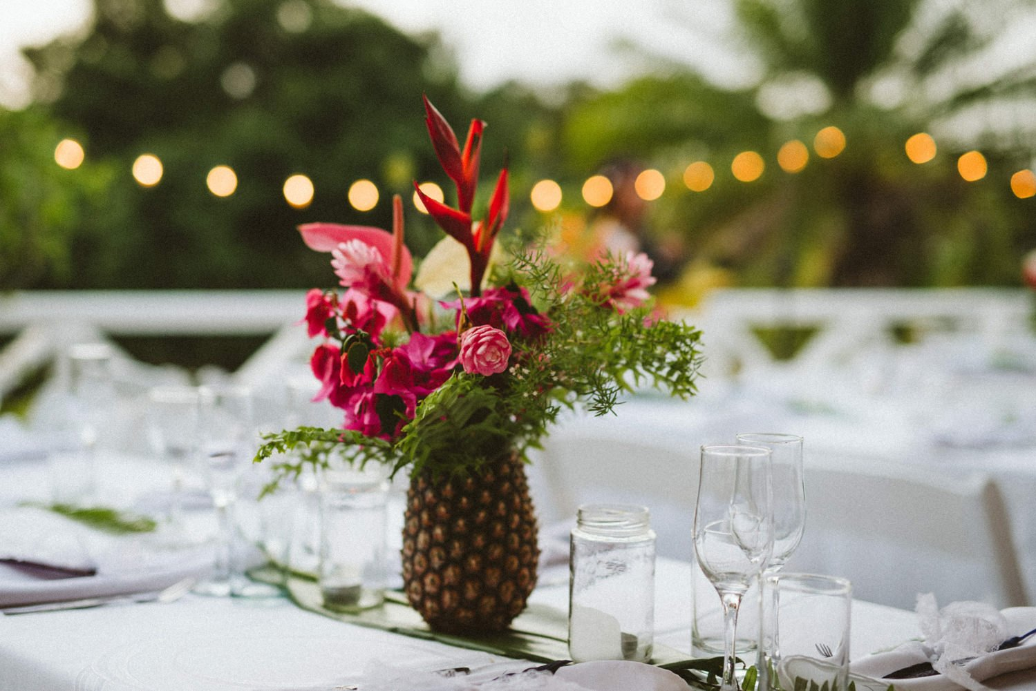 Pineapple with bright flowers to decorate Tobago wedding
