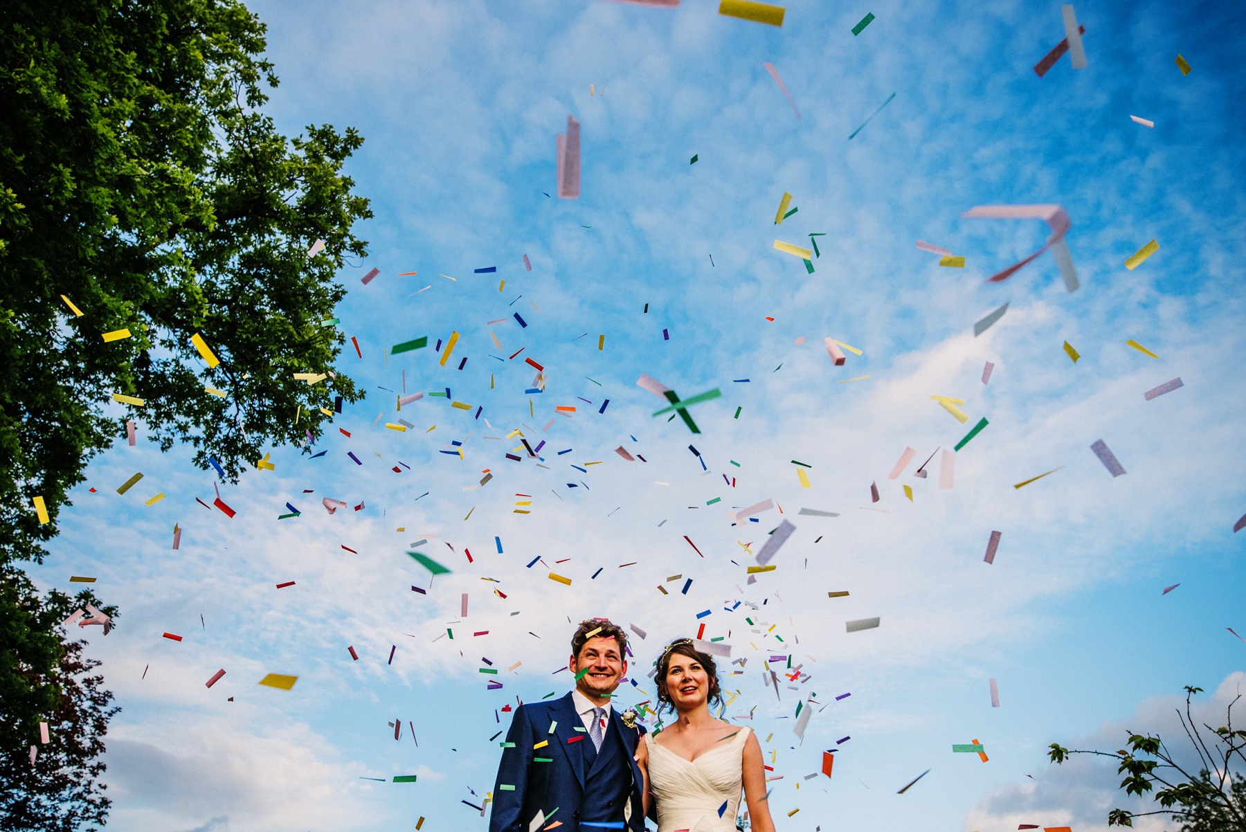 Confetti shot wedding photography Bath