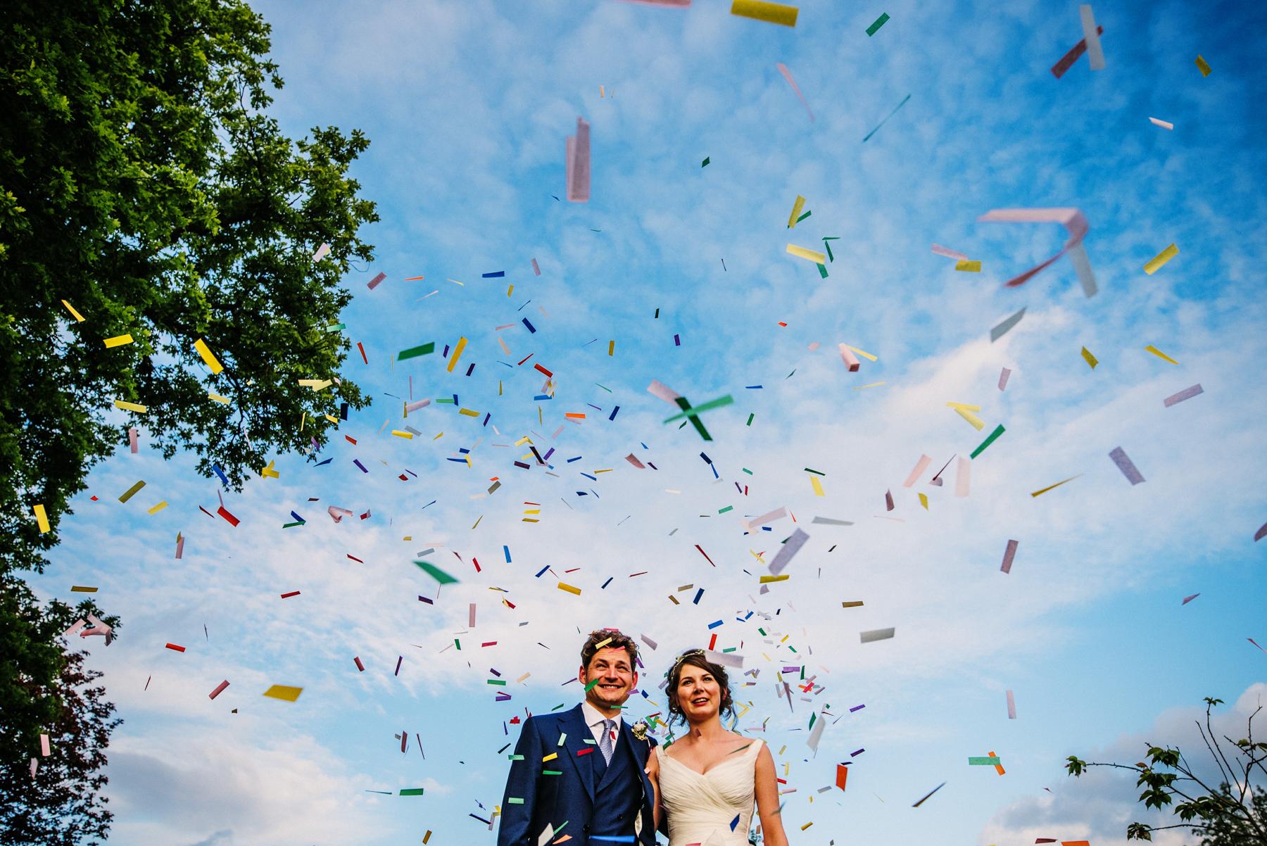 Confetti shot wedding photography Bath