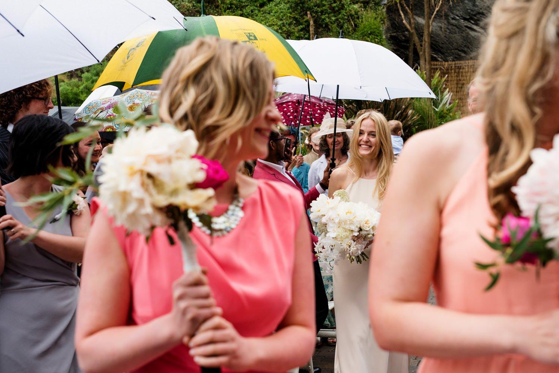Creative colourful wedding ceremony Devon
