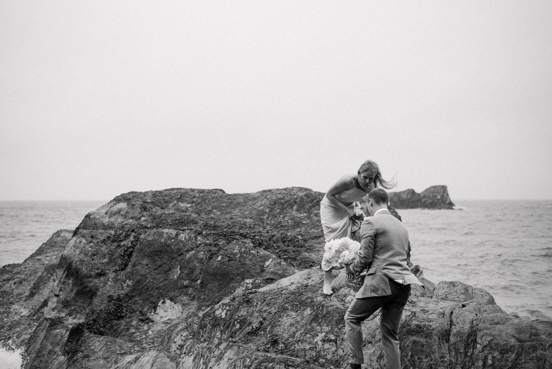 Rainy Devon beach wedding photography Babb Photo