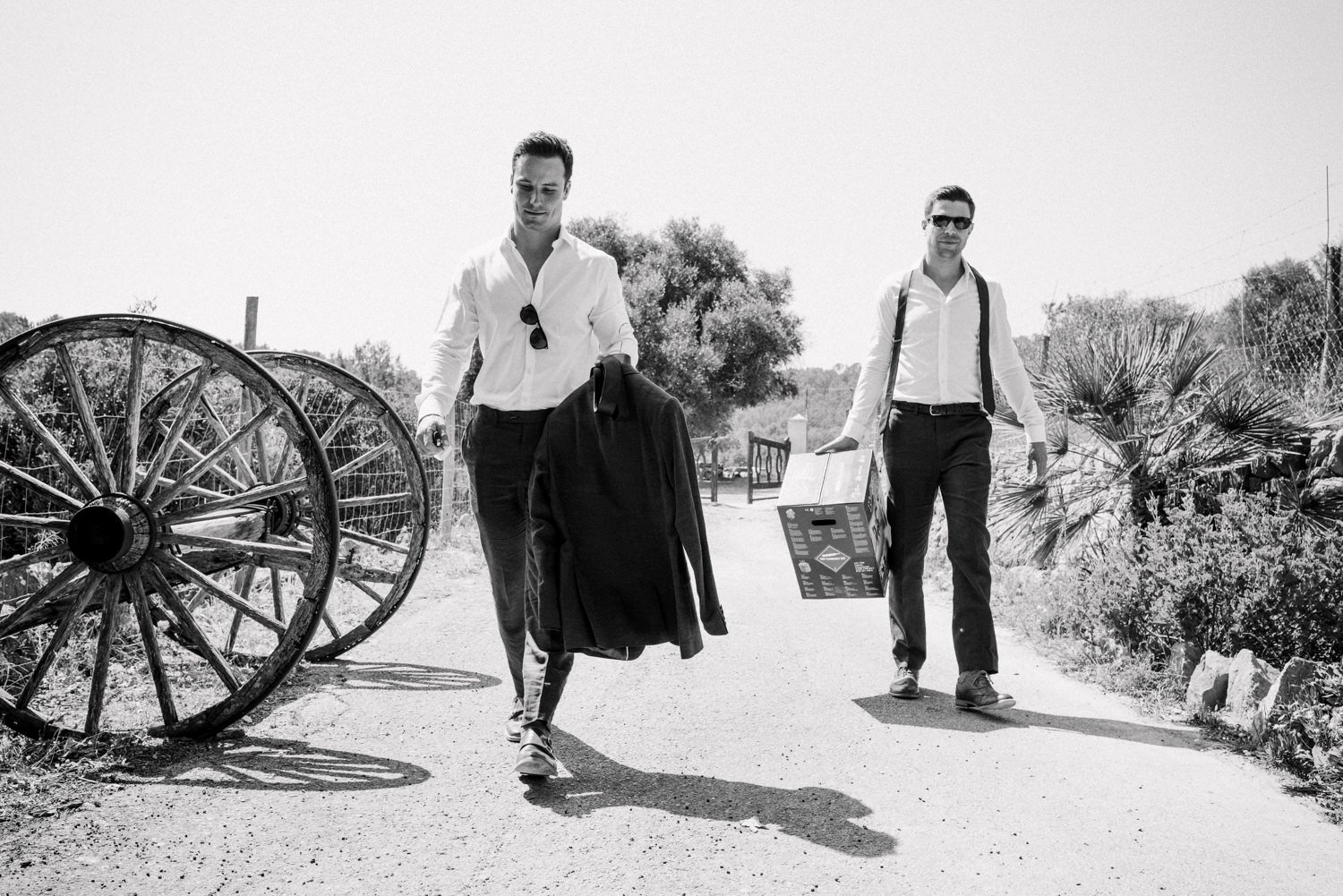 M&S suits with Charles Tyritt shirts as warn by groom and groomsmen Mallorca wedding photography