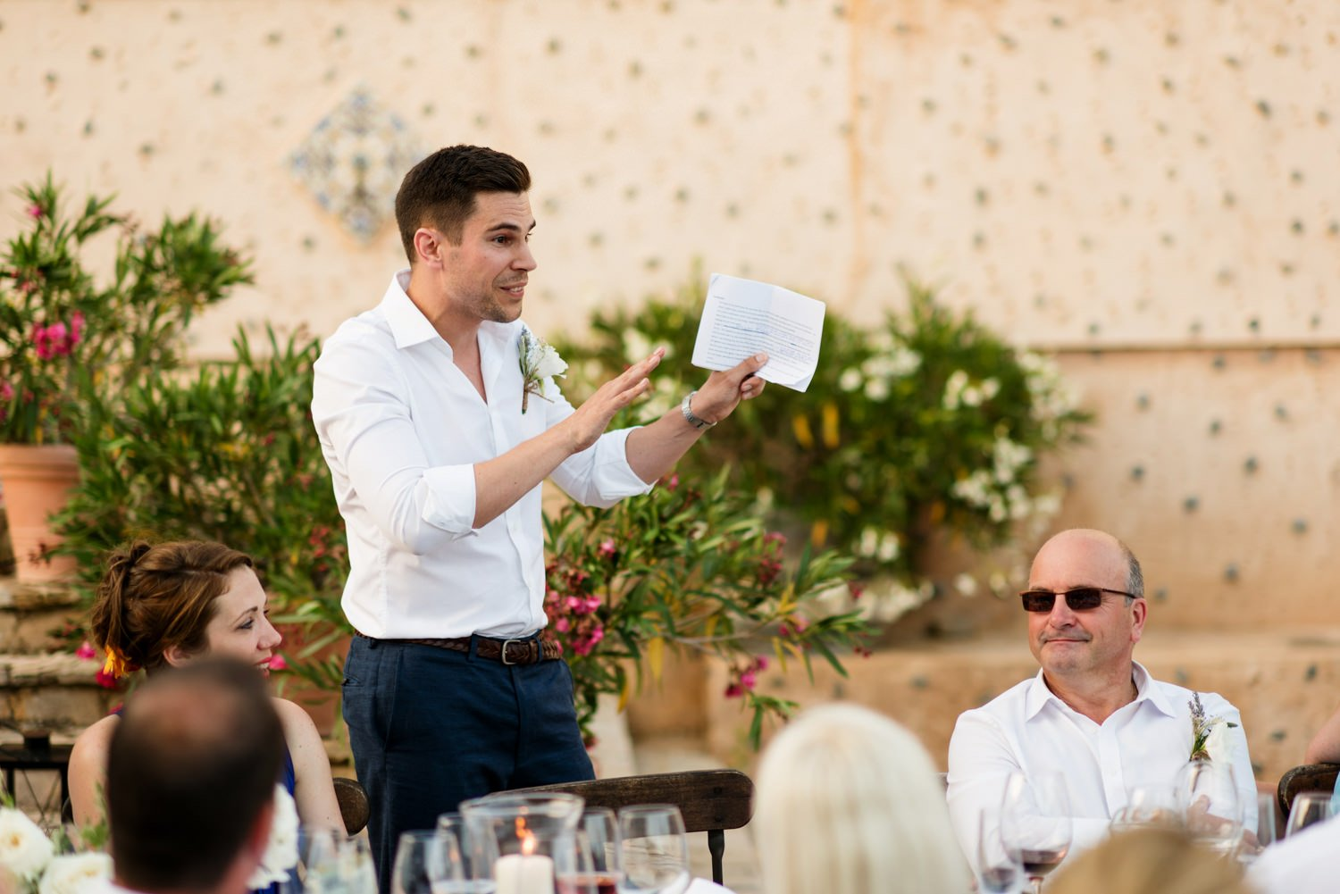 The groom delivers his speech Mallorca wedding photographer Babb Photo
