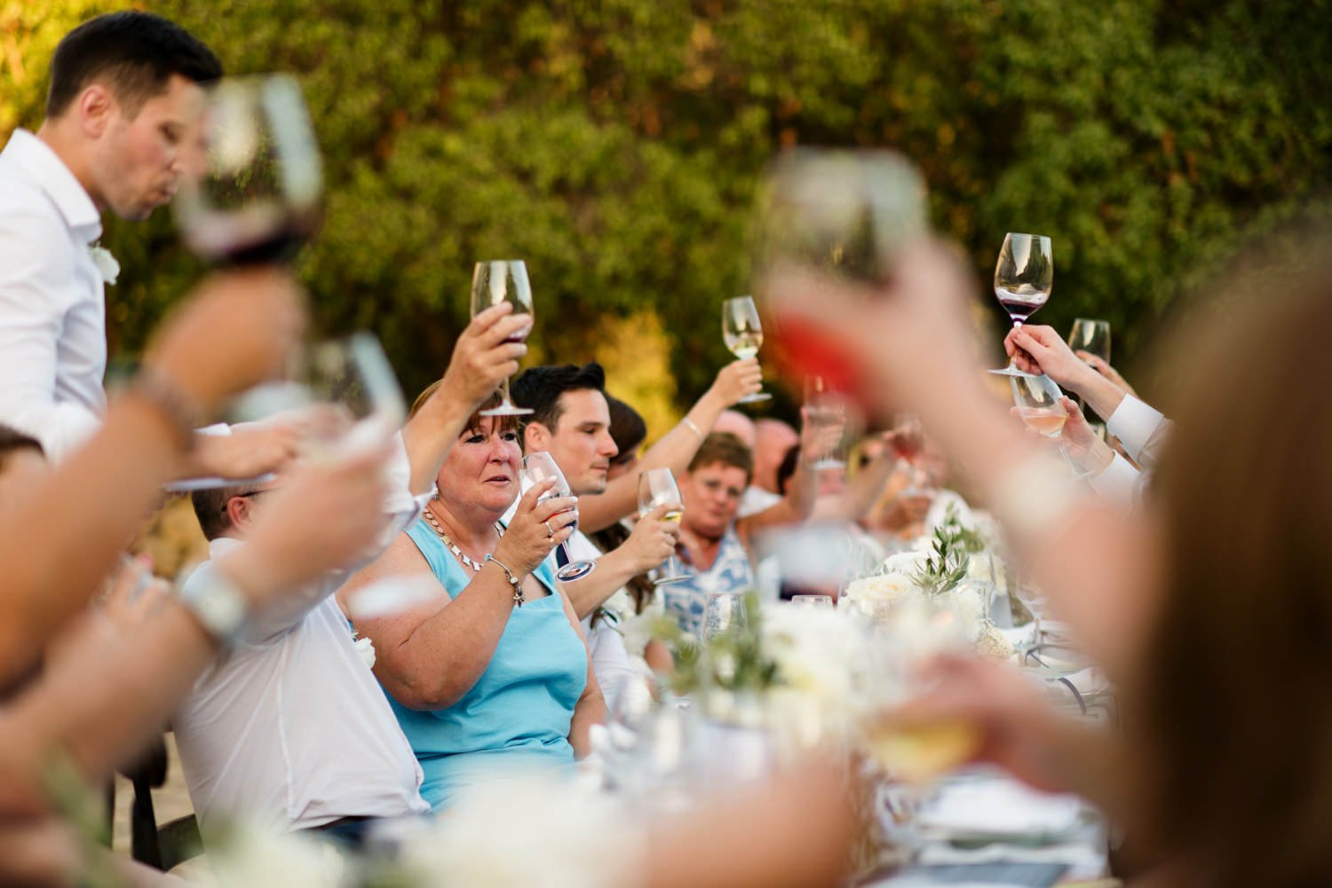 The champagne toast Mallorca wedding photography Babb Photo