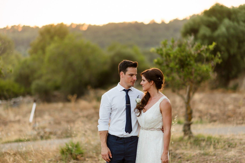 Rustic sunny Mallorca wedding portrait