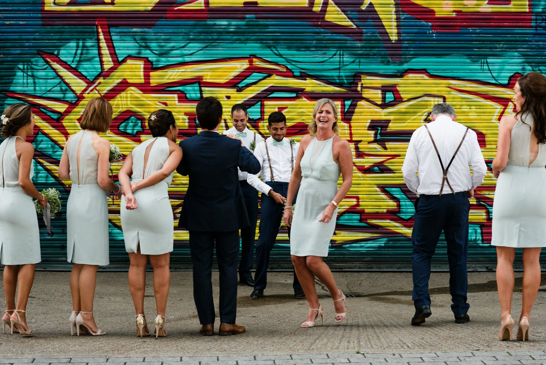 Story telling urban London wedding photography