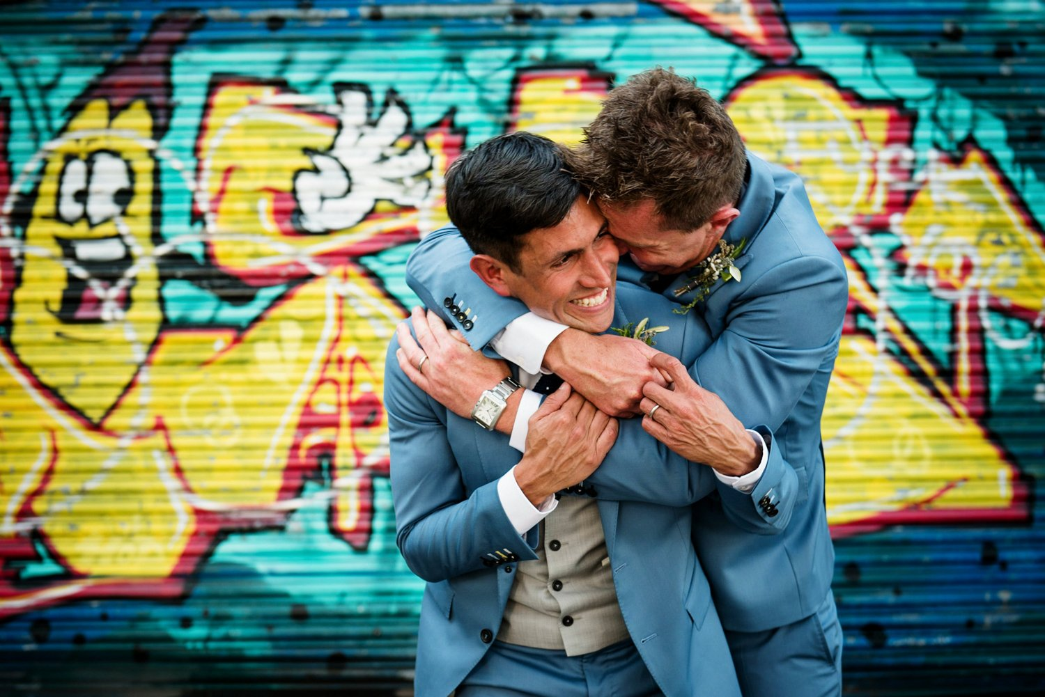 Story telling colourful same sex wedding photography London
