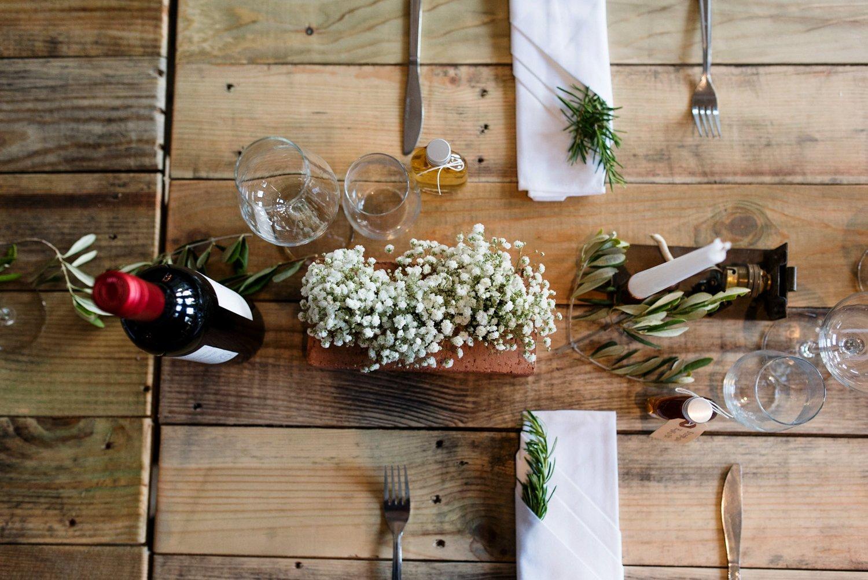 Urban wedding table decoration London