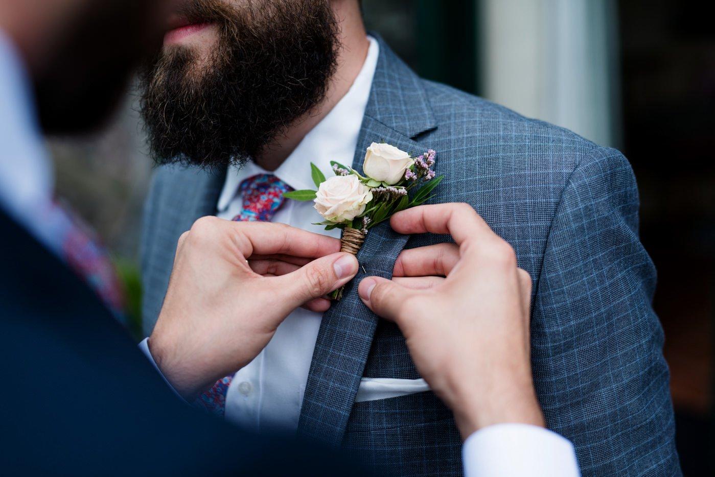 Buttonhole for groom DIY outdoor wedding Co Kerry Ireland