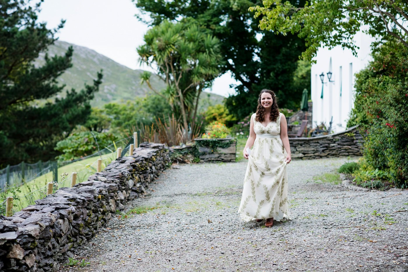 Bride wearing Indie Bride bohemian dress Co Kerry Ireland wedding