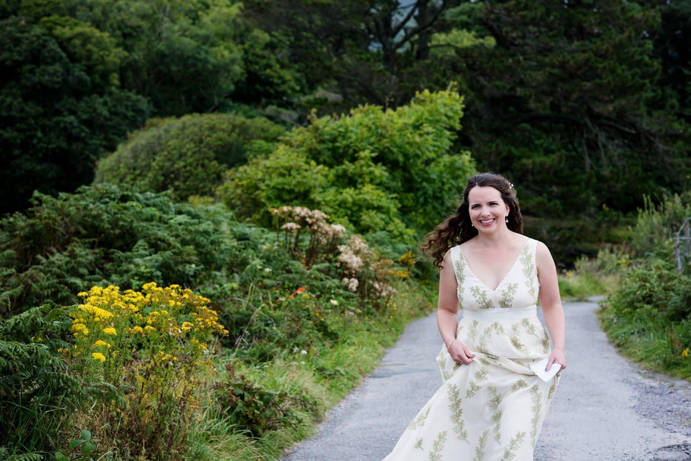 Bohemian bride wearing Indie Bride outdoor wedding Co Kerry Ireland