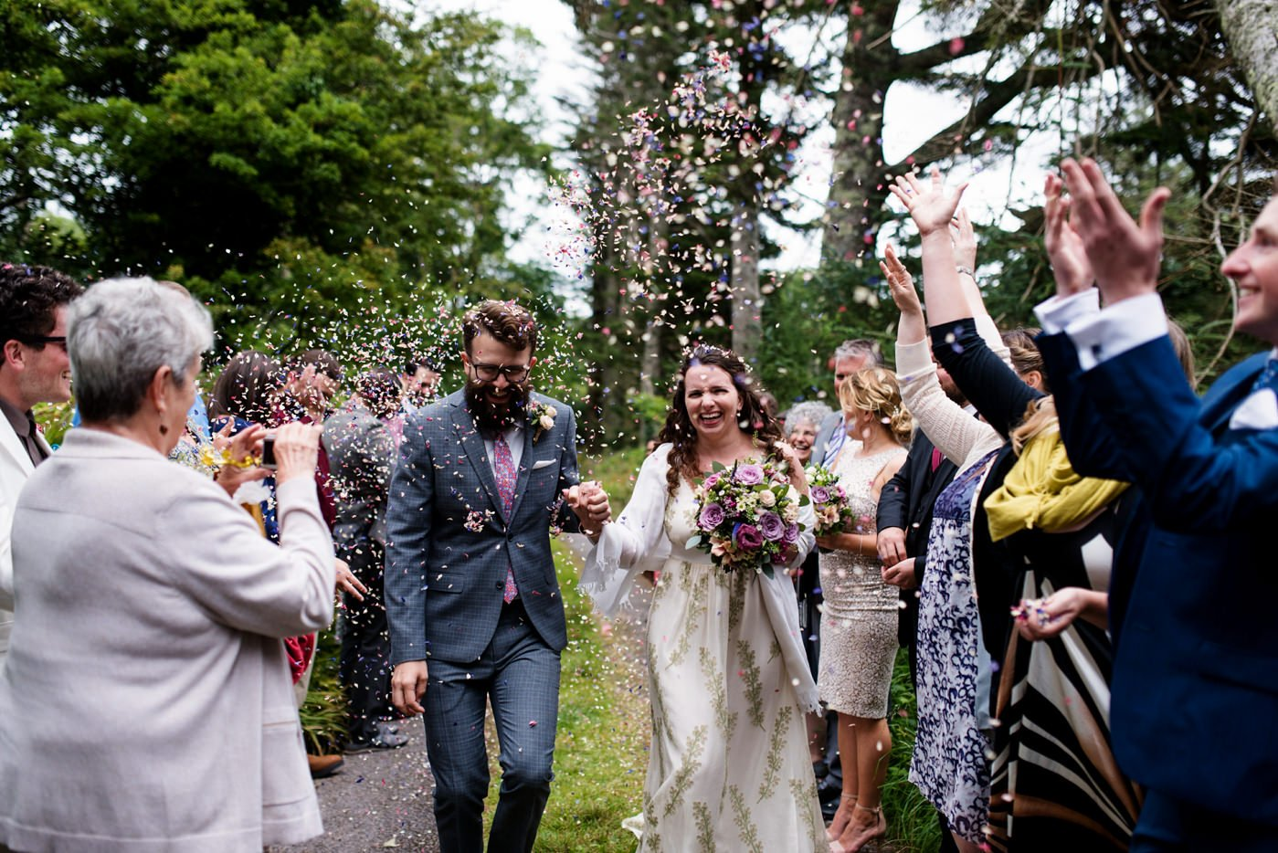 Colourful outdoor wedding ceremony Co Kerry Ireland