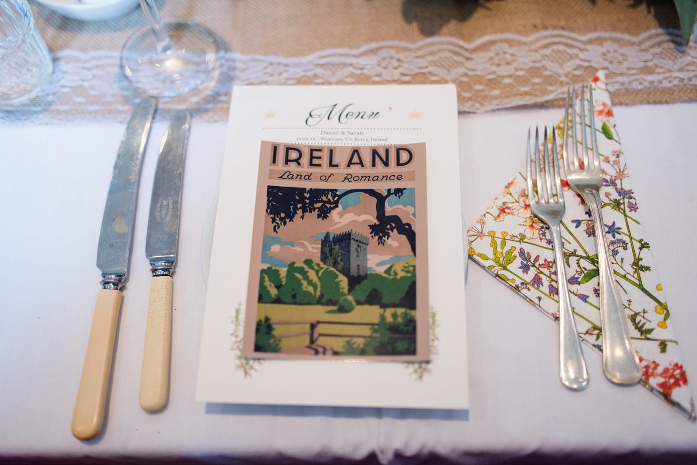 Quirky homespun wedding table decor Westcove House Co Kerry Ireland