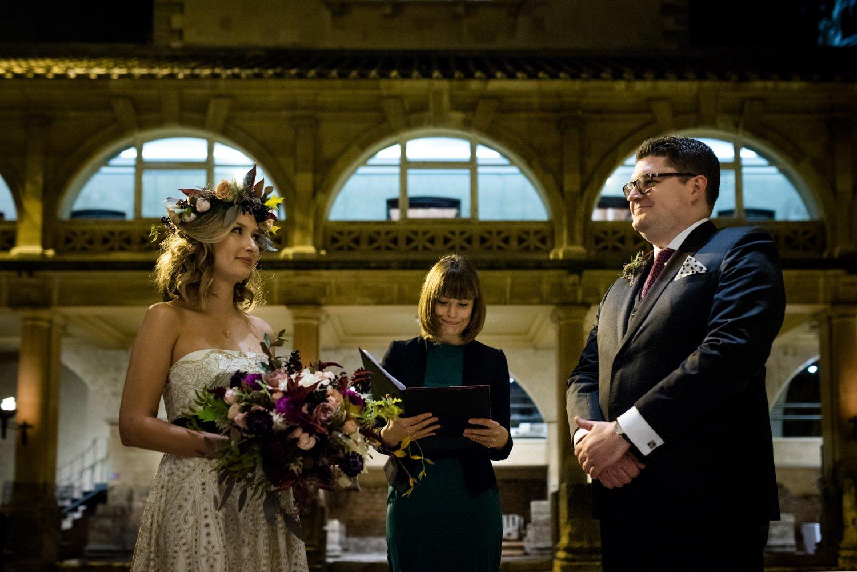 Authentic creative wedding ceremony at Roman Baths Somerset