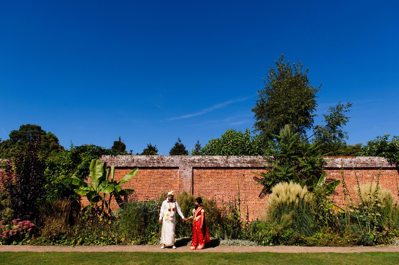 Indian wedding portrait at Painshill Park Surrey