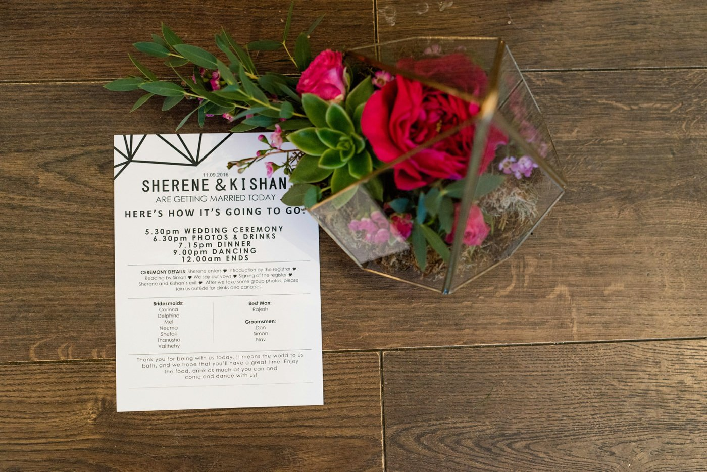 Wedding stationery with floral bouquet Painshill Park Conservatory Surrey