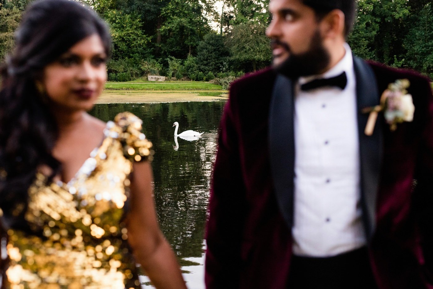 Gold bridal wedding dress Painshill Park Indian wedding