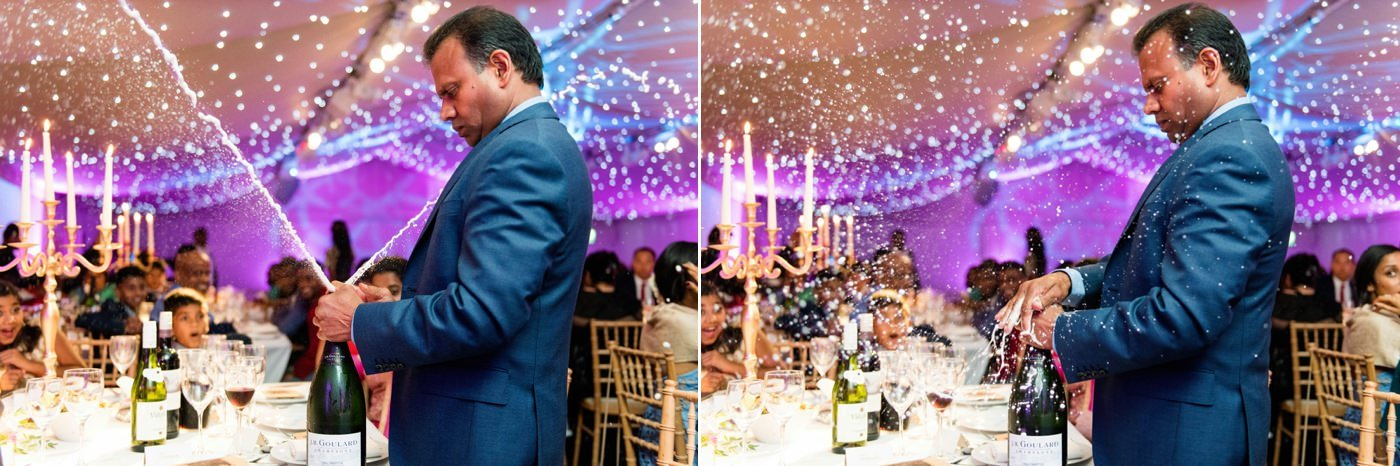 Fun champagne captured moment Indian wedding at Painshill Park Conservatory Surrey
