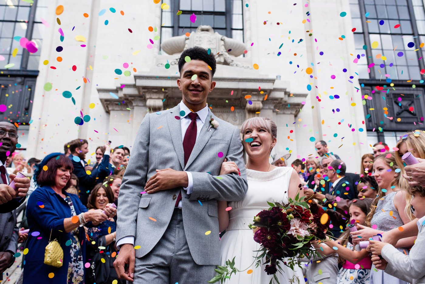 Colourful confetti wedding portrait London