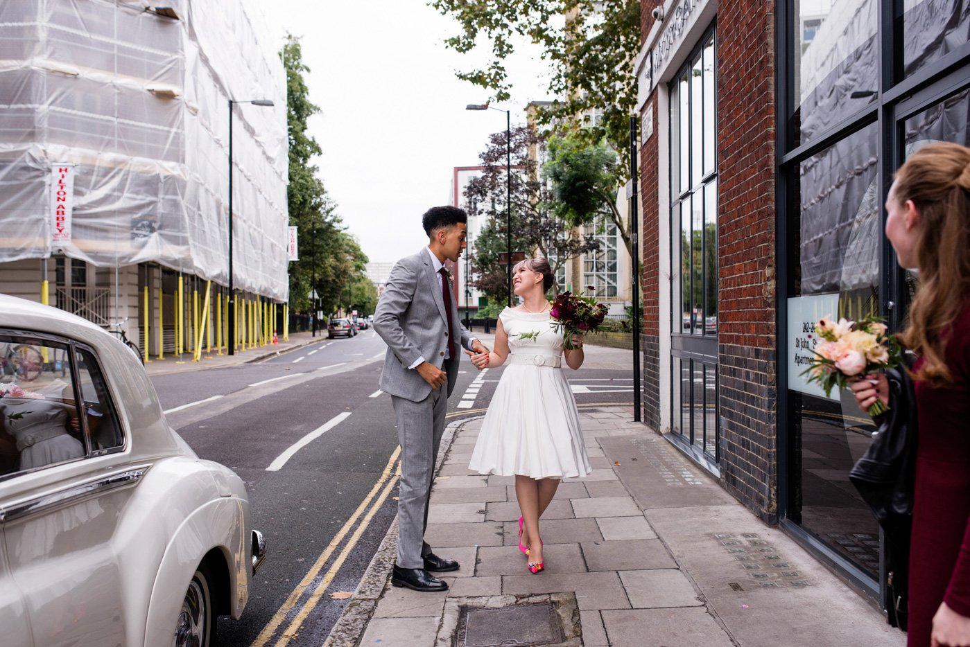 Vintage style bride with groom London wedding photography