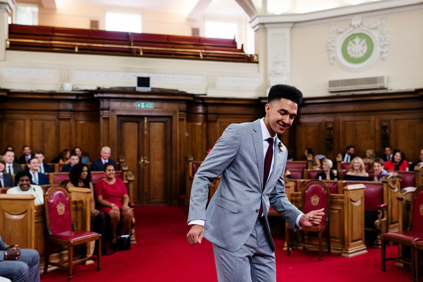 Alternative groom dancing pre wedding Islington Town Hall