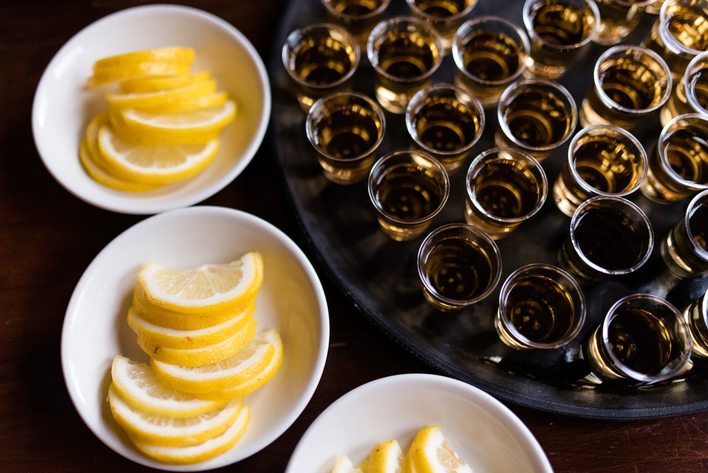 Tequila shots with lemon at The Peasant pub London