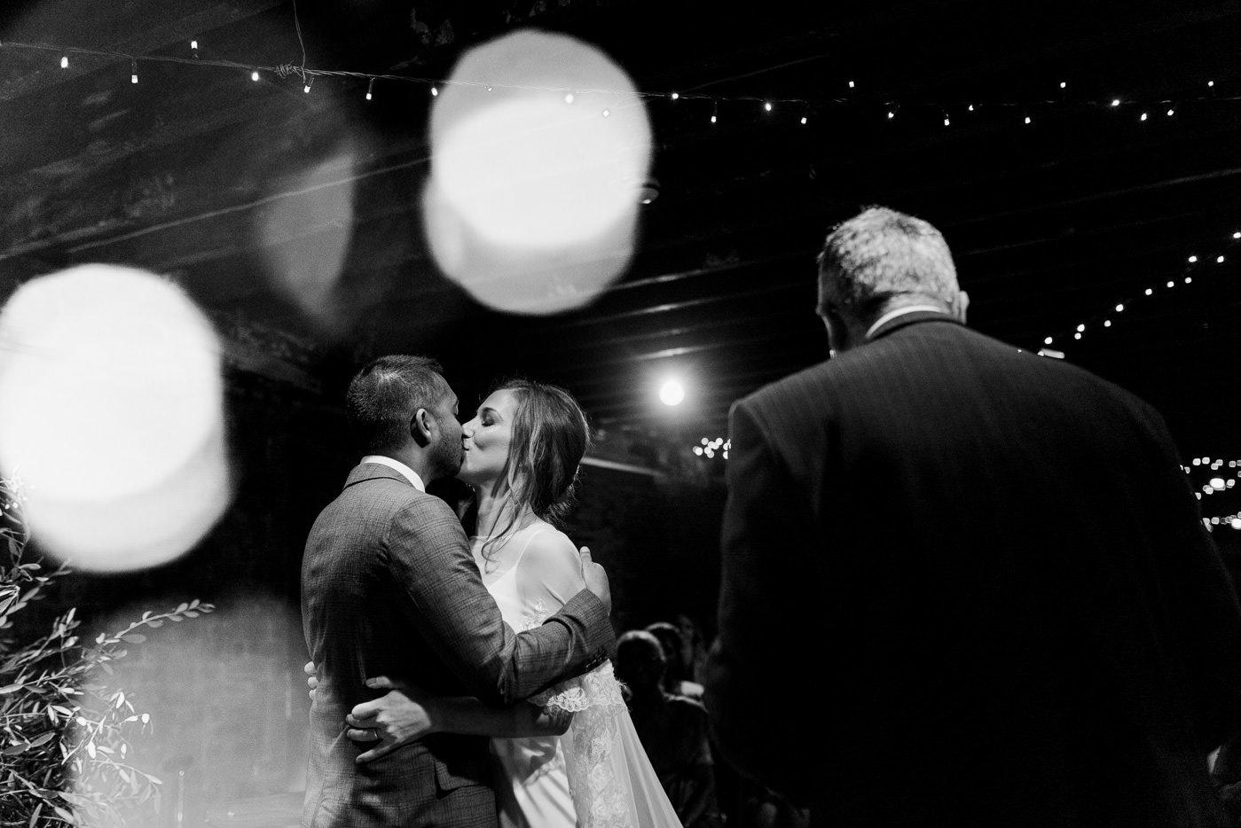 first kiss warehouse wedding