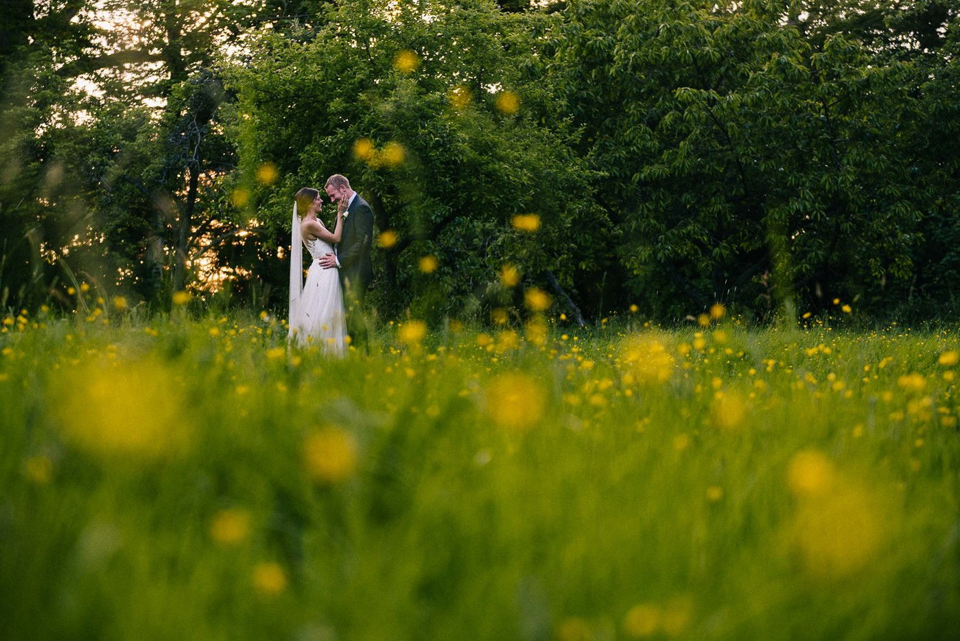 Sprivers Mansion Wedding sunset portrait in buttercups