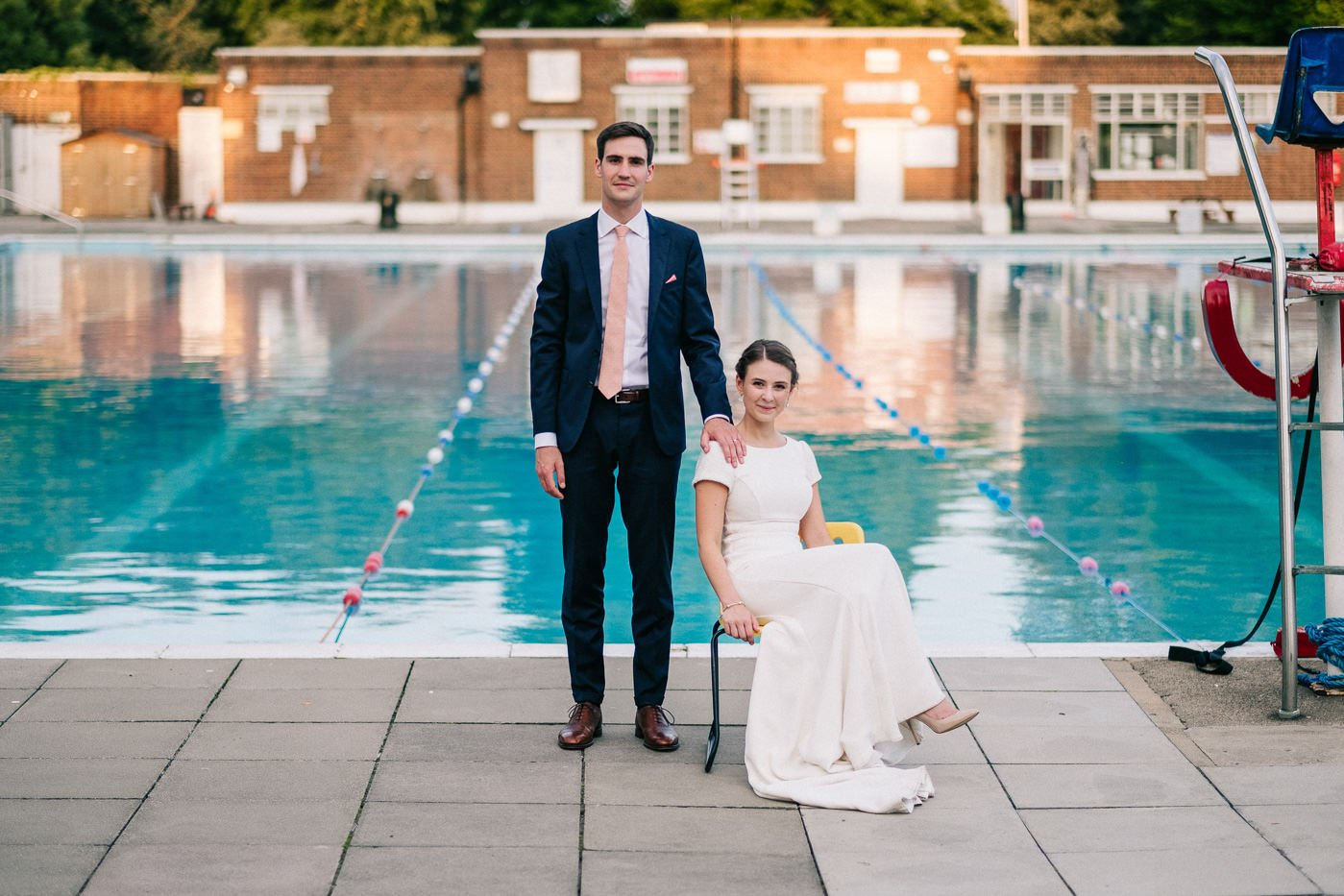 quirky couples portrait brockwell lido wedding photographer