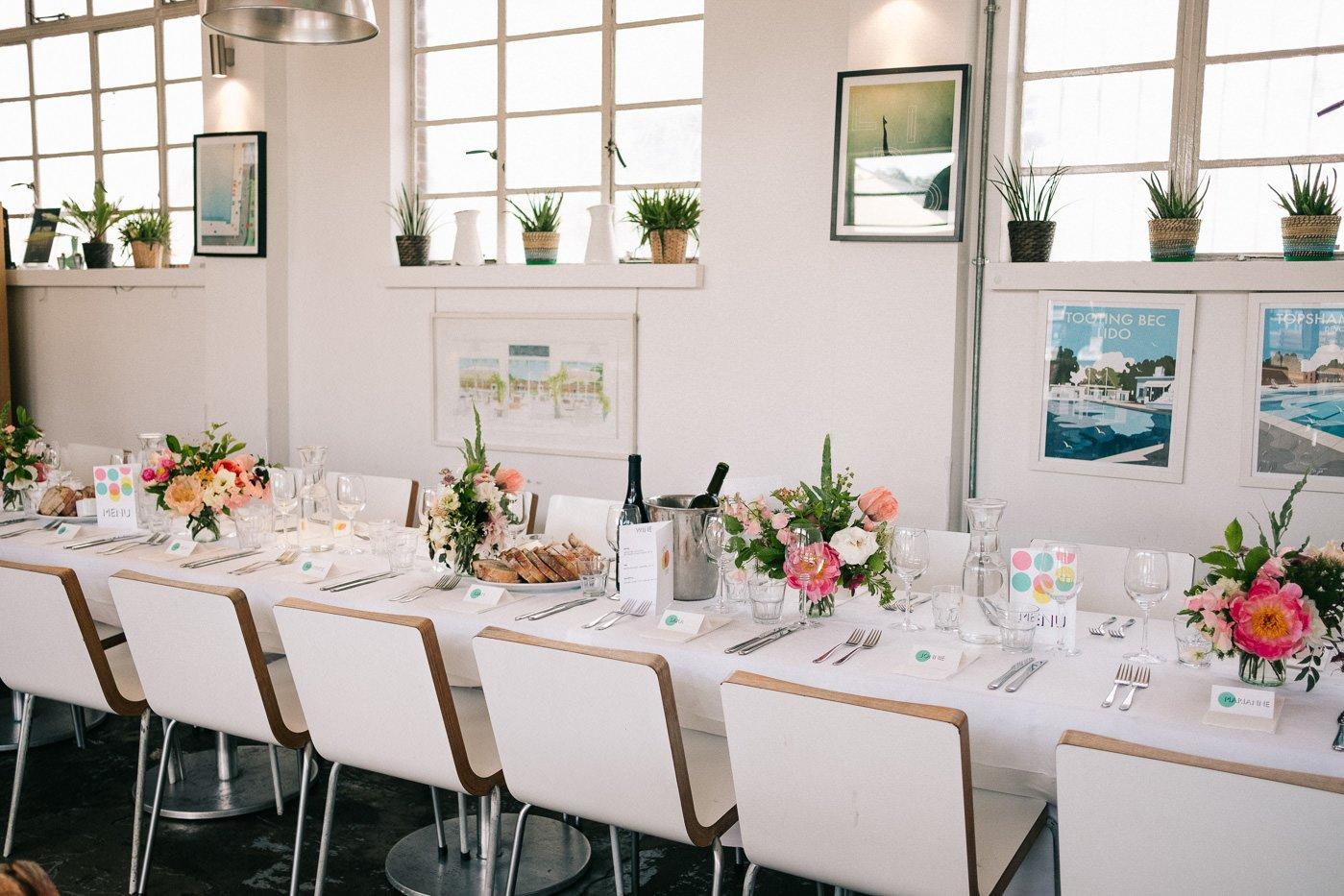 modern wedding decor peach pink brockwell lido wedding photographer