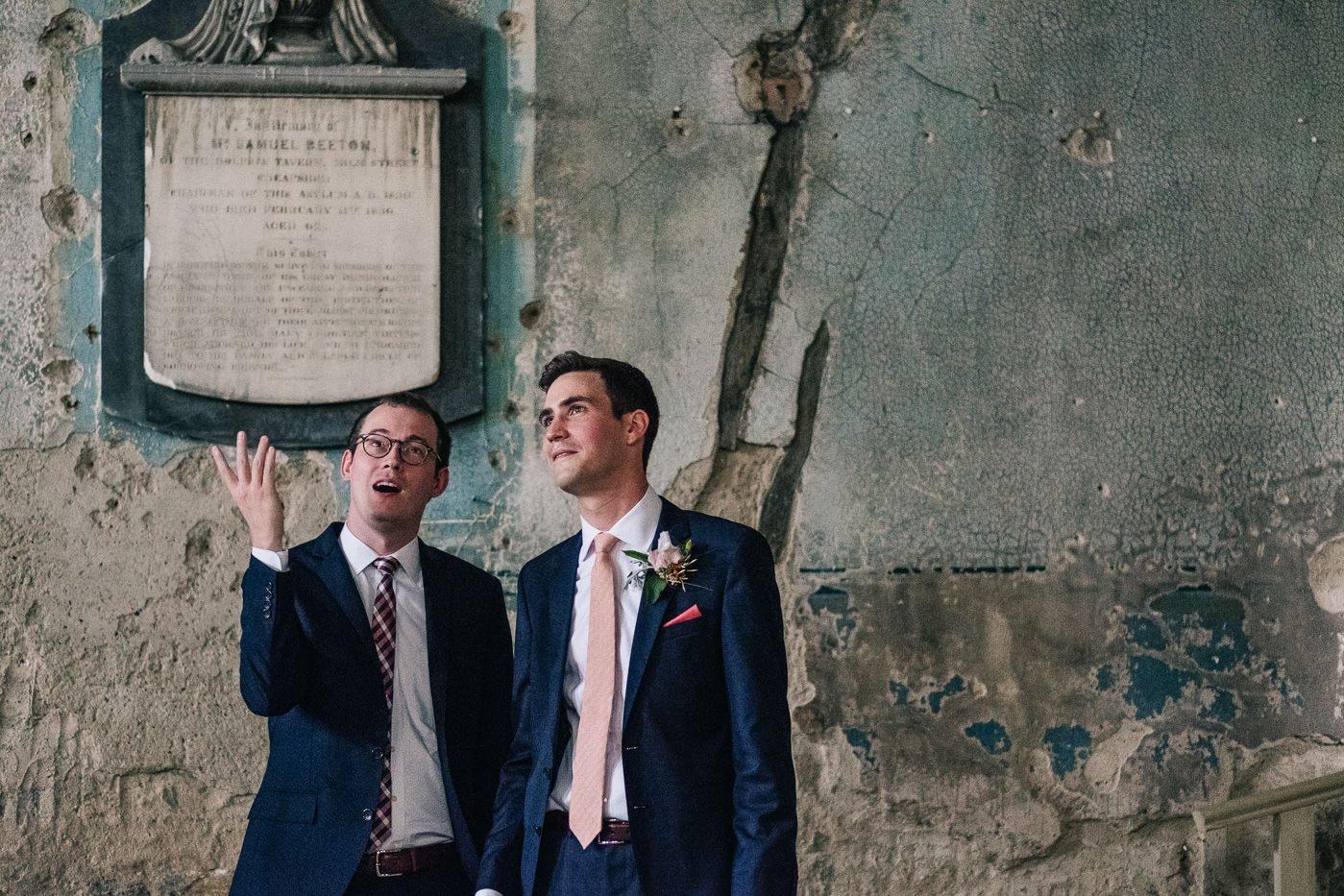 Groom portrait documentary Alternative wedding Brockwell Lido