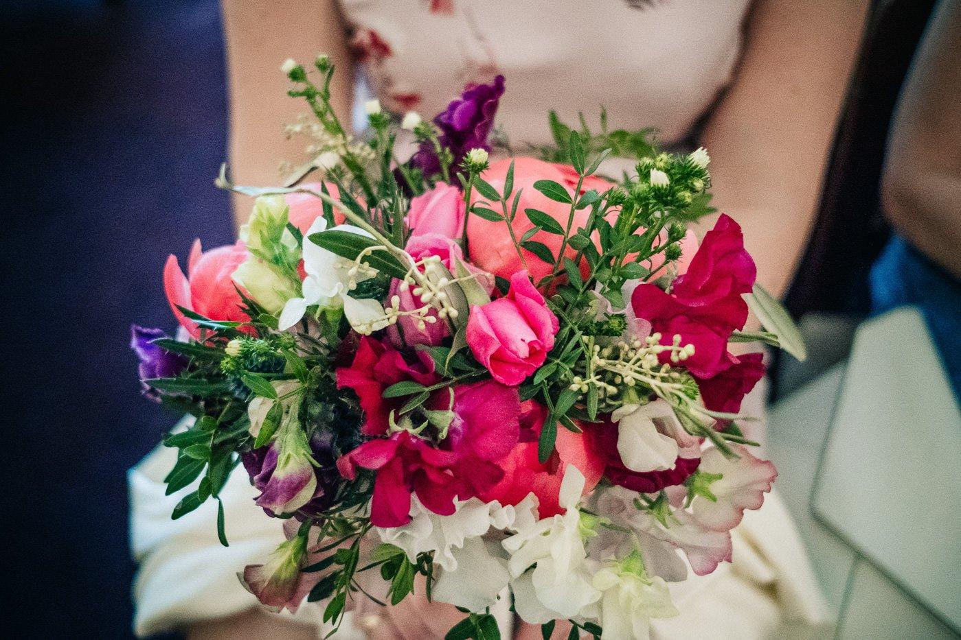 pink wedding flowers The Perch Oxford wedding photographer