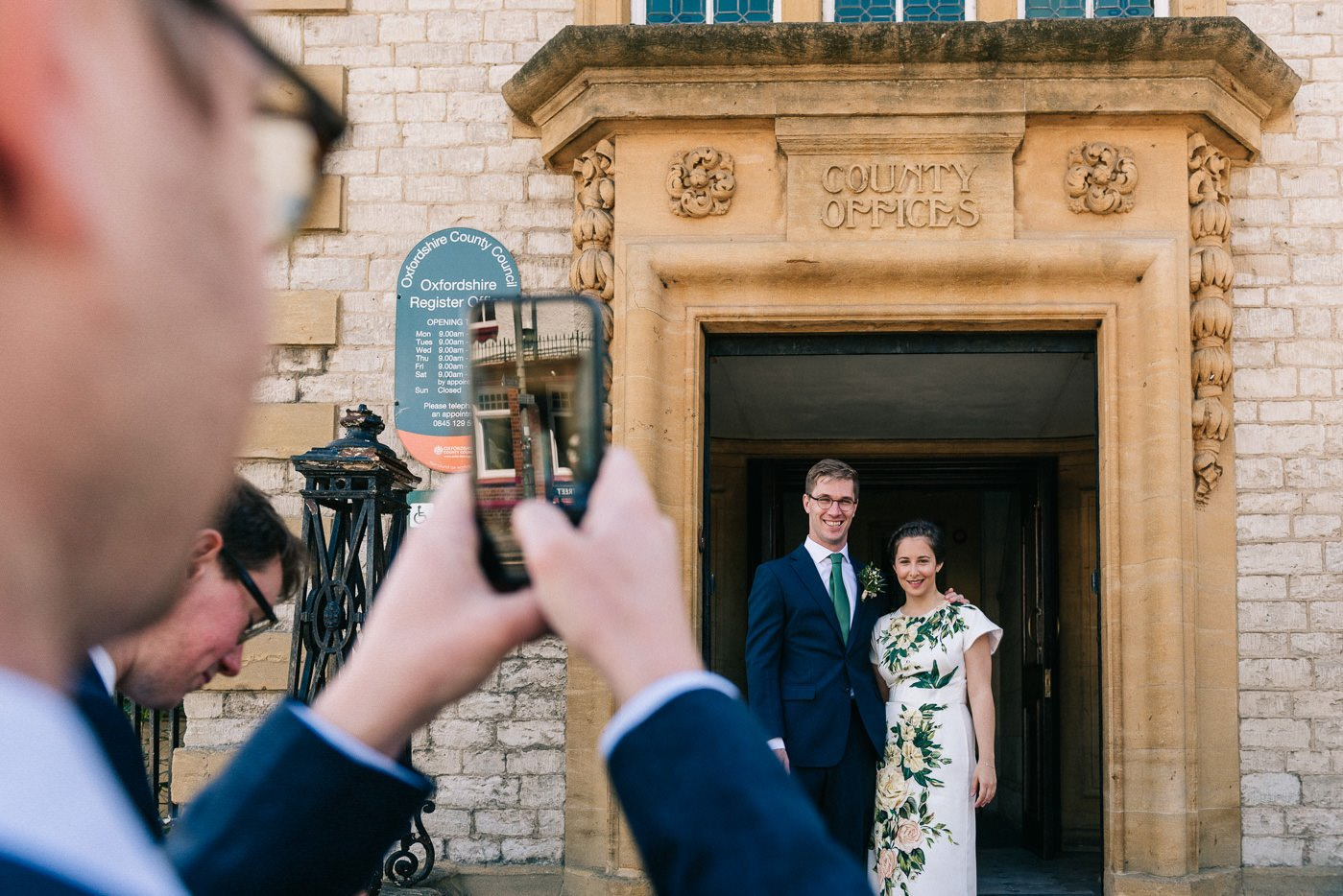 Bride in floral dress The Perch Oxford wedding photographer