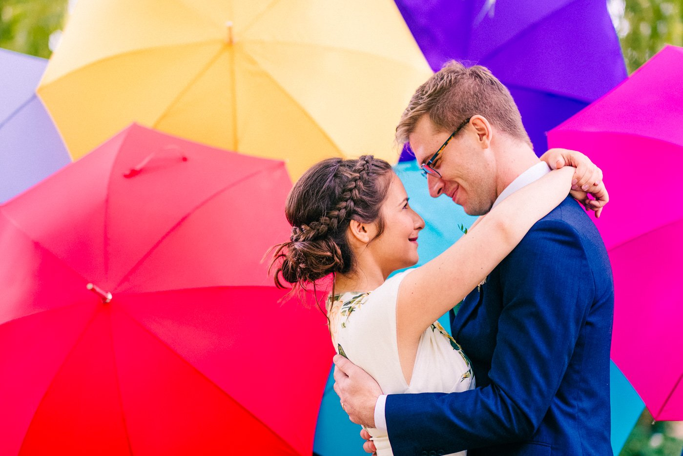colourful wedding portrait The Perch Oxford wedding photographer