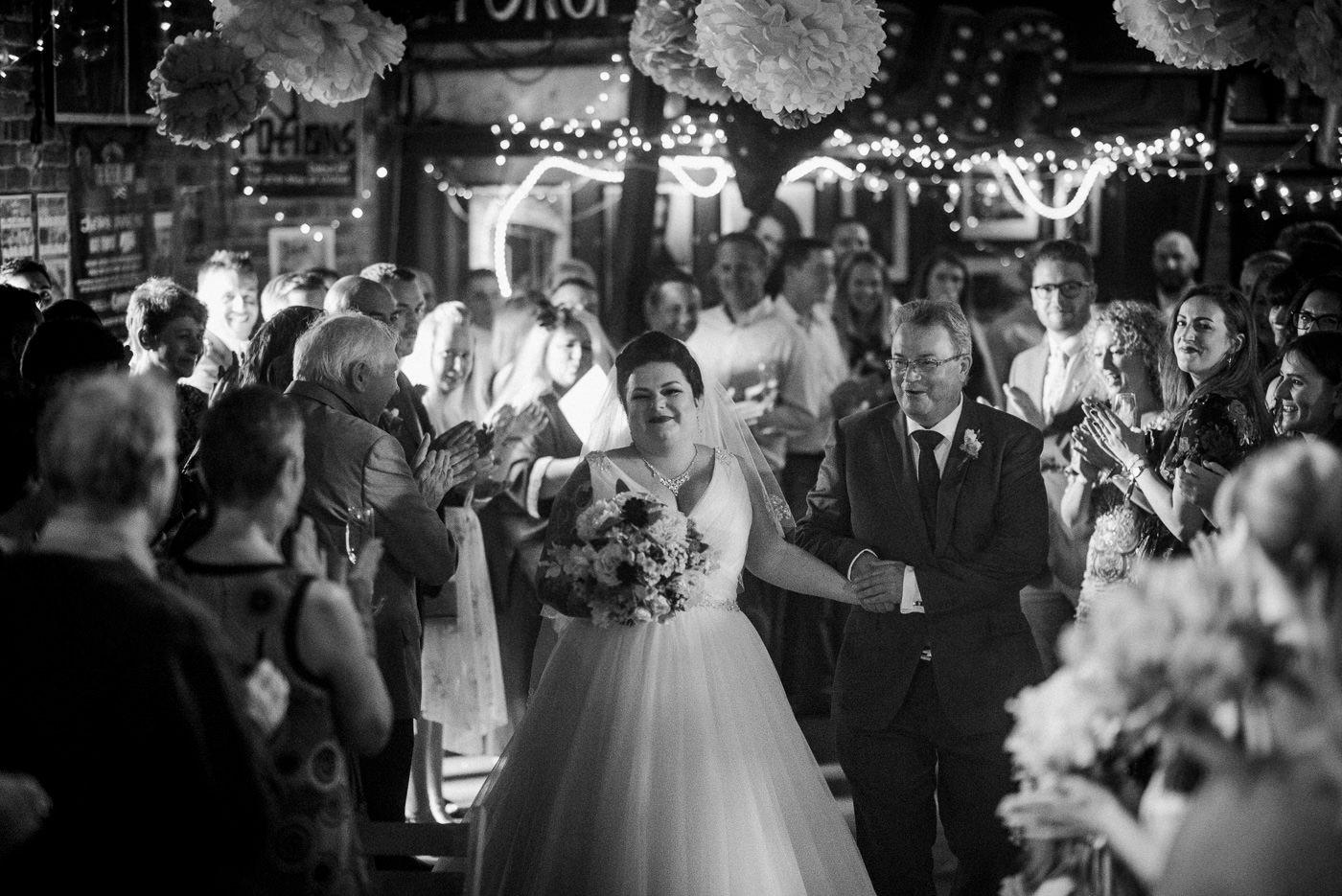 Bride arriving alternative wedding photographer